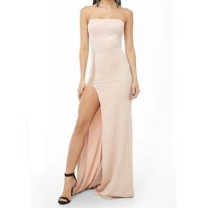 Strapless High-Slit Gown Deess - Forever 21